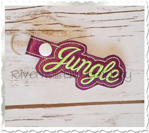 Jungle In The Hoop Snap Tab Key Fob Machine Embroidery Design
