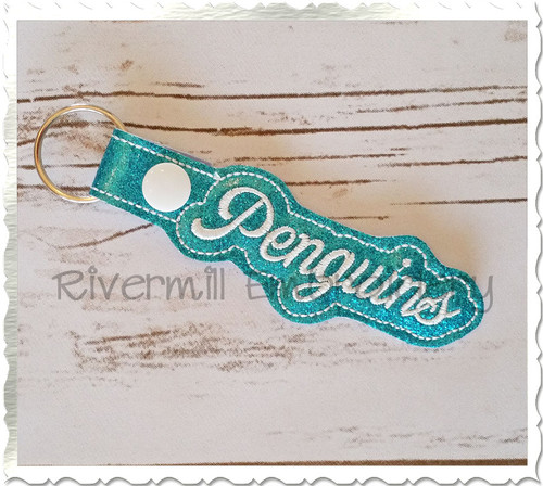 Penguins In The Hoop Snap Tab Key Fob Machine Embroidery Design