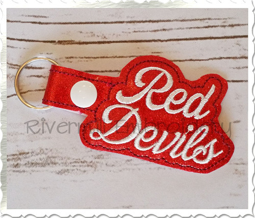 Red Devils In The Hoop Snap Tab Key Fob Machine Embroidery Design