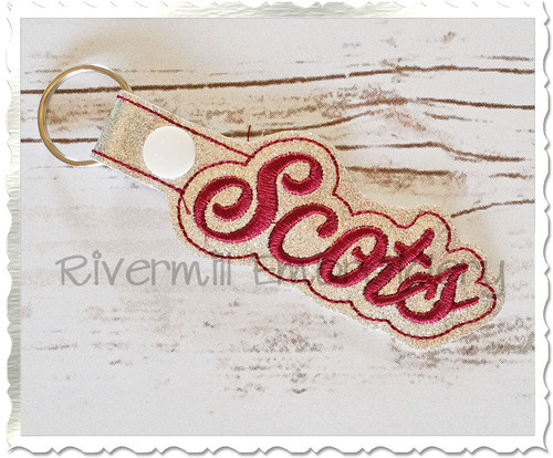 Scots In The Hoop Snap Tab Key Fob Machine Embroidery Design