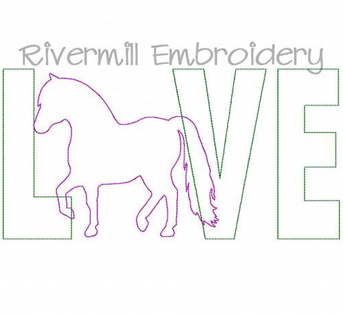 Raggy Applique Mini Horse Love Machine Embroidery Design