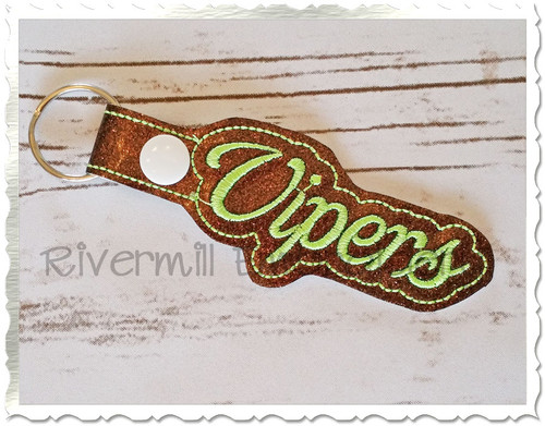 Vipers In The Hoop Snap Tab Key Fob Machine Embroidery Design