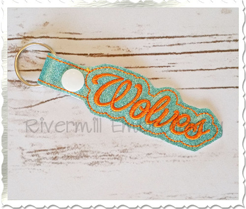 Wolves In The Hoop Snap Tab Key Fob Machine Embroidery Design