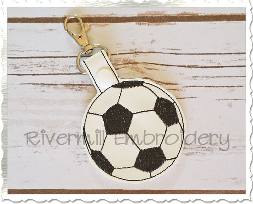 Soccer Ball In The Hoop Snap Tab Key Fob Machine Embroidery Design