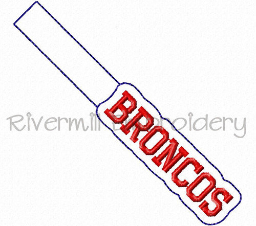 Broncos In The Hoop Snap Tab Key Fob Machine Embroidery Design