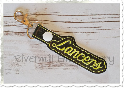 Lancers In The Hoop Snap Tab Key Fob Machine Embroidery Design