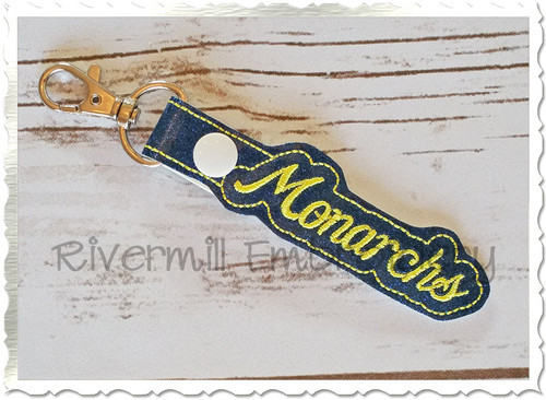 Monarchs In The Hoop Snap Tab Key Fob Machine Embroidery Design
