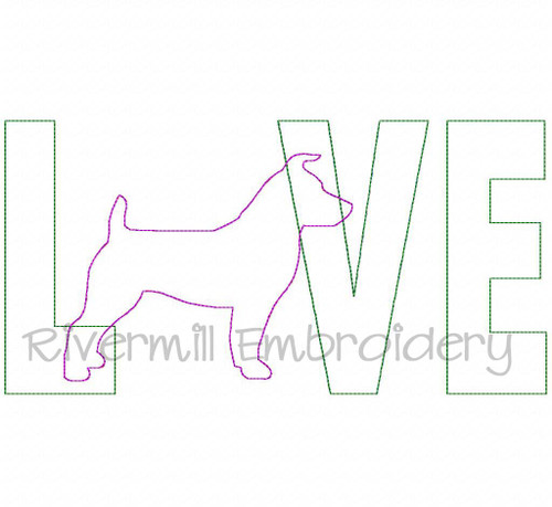 Raggy Applique Jack Russell Terrier Love Machine Embroidery Design