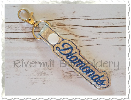 Diamonds In The Hoop Snap Tab Key Fob Machine Embroidery Design