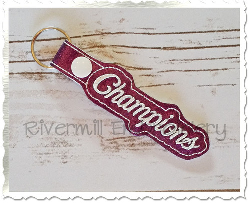 Champions In The Hoop Snap Tab Key Fob Machine Embroidery Design