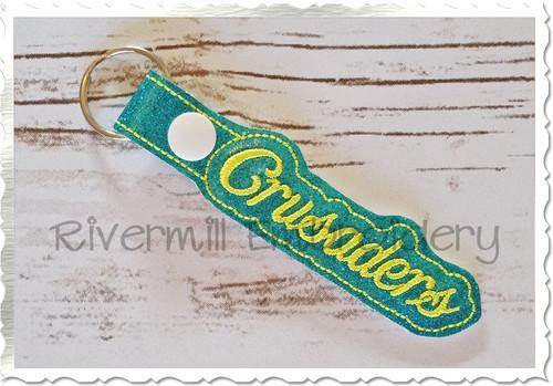 Crusaders In The Hoop Snap Tab Key Fob Machine Embroidery Design