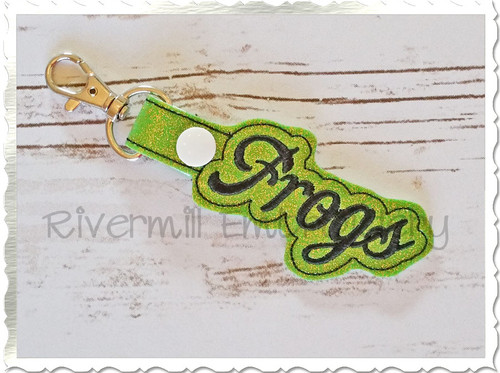 Frogs In The Hoop Snap Tab Key Fob Machine Embroidery Design