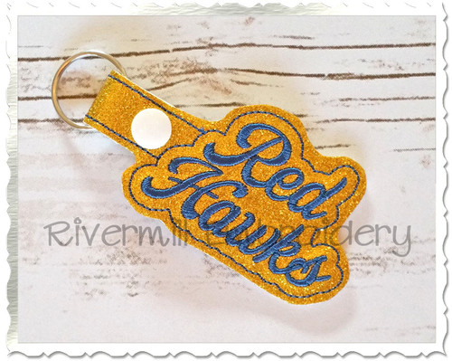 Red Hawks In The Hoop Snap Tab Key Fob Machine Embroidery Design