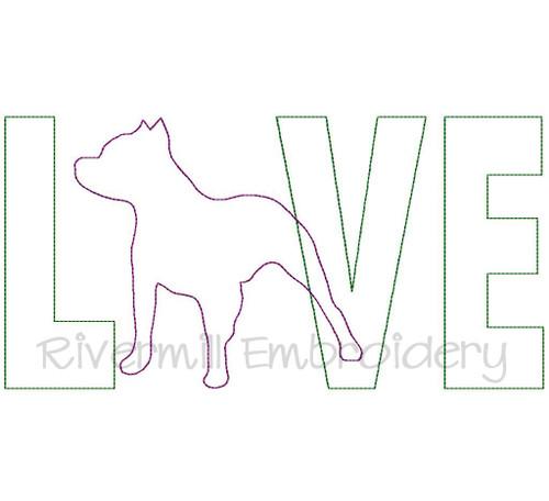 Raggy Applique Pit Bull Love Machine Embroidery Design