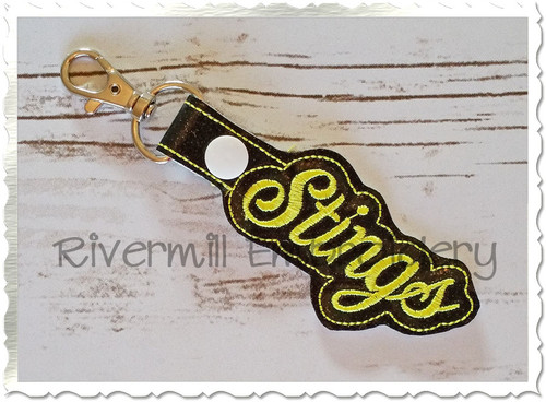Stings In The Hoop Snap Tab Key Fob Machine Embroidery Design