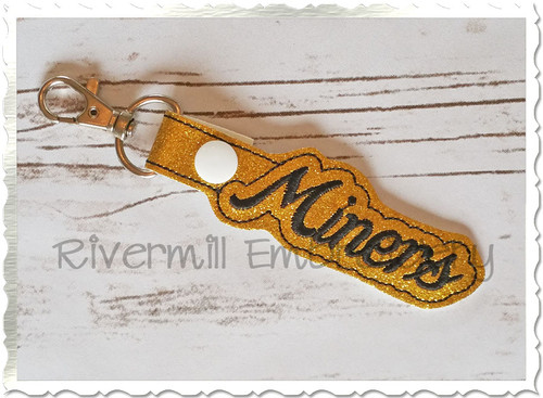 Miners In The Hoop Snap Tab Key Fob Machine Embroidery Design