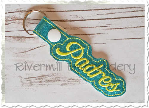 Padres In The Hoop Snap Tab Key Fob Machine Embroidery Design