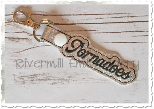 Tornadoes In The Hoop Snap Tab Key Fob Machine Embroidery Design