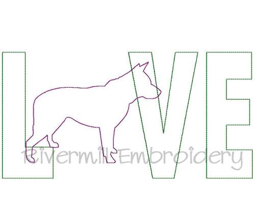Raggy Applique Blue Heeler Love Machine Embroidery Design