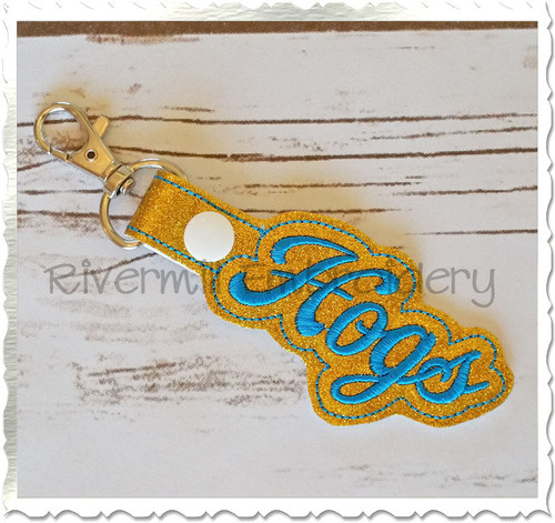 Hogs In The Hoop Snap Tab Key Fob Machine Embroidery Design