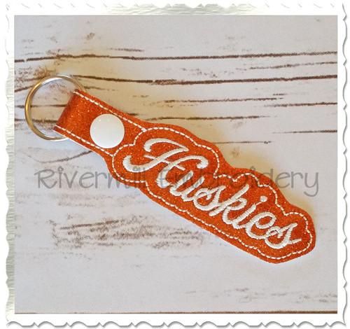 Huskies In The Hoop Snap Tab Key Fob Machine Embroidery Design