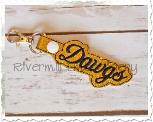 Dawgs In The Hoop Snap Tab Key Fob Machine Embroidery Design
