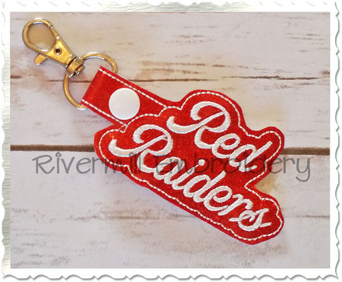 Red Raiders In The Hoop Snap Tab Key Fob Machine Embroidery Design