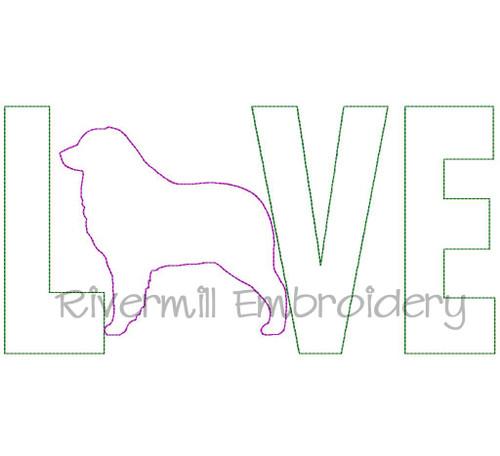 Raggy Applique Australian Shepherd Love Machine Embroidery Design