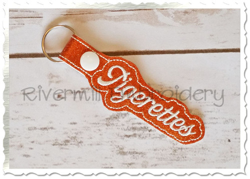 Tigerettes In The Hoop Snap Tab Key Fob Machine Embroidery Design