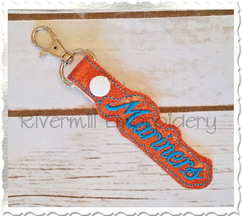 Mariners In The Hoop Snap Tab Key Fob Machine Embroidery Design