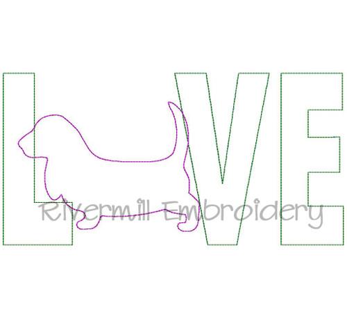 Raggy Applique Basset Hound Love Machine Embroidery Design