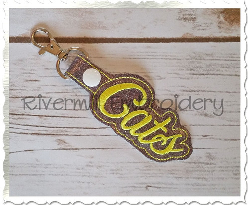 Cats In The Hoop Snap Tab Key Fob Machine Embroidery Design