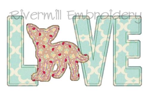 Raggy Applique Chihuahua Love Machine Embroidery Design