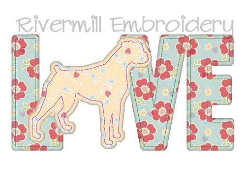 Raggy Applique Boxer Love Machine Embroidery Design