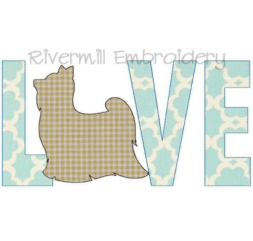 Raggy Applique Yorkie Yorkshire Terrier Love Machine Embroidery Design