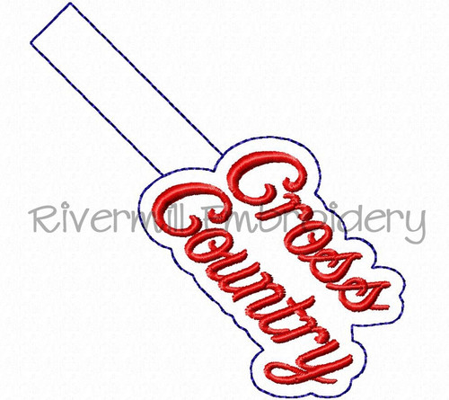 Cross Country In The Hoop Snap Tab Key Fob Machine Embroidery Design