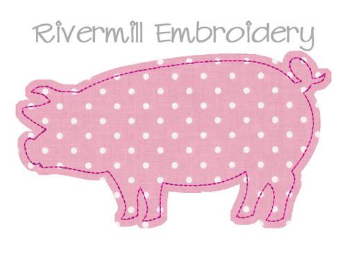 Raggy Applique Pig Machine Embroidery Design