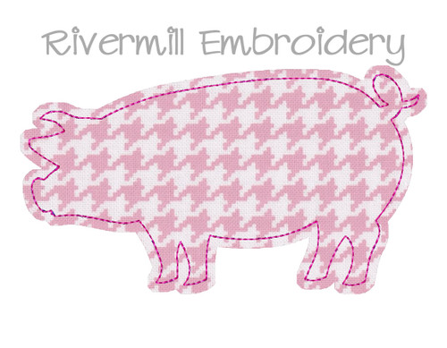 Large Raggy Applique Pig Machine Embroidery Design