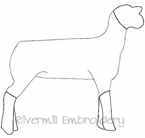 Raggy Applique Sheep / Lamb Machine Embroidery Design