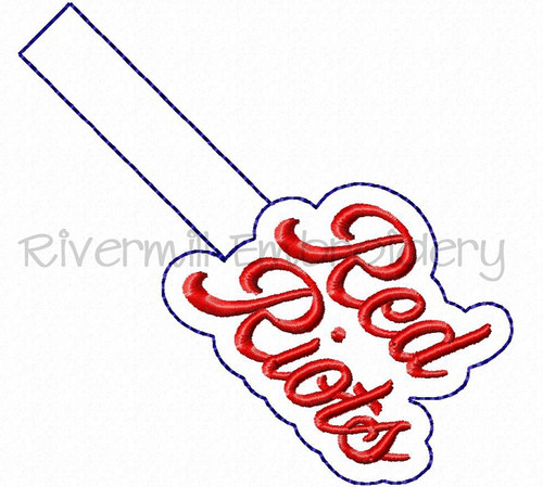 Red Riots In The Hoop Snap Tab Key Fob Machine Embroidery Design