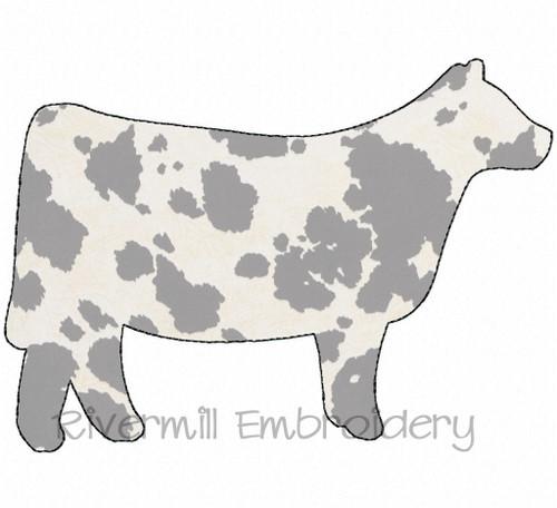 Raggy Applique Cow Machine Embroidery Design