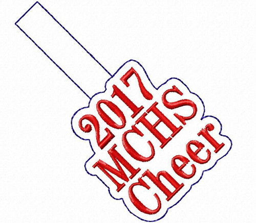 2017 MCHS Cheer In The Hoop Snap Tab Key Fob Machine Embroidery Design