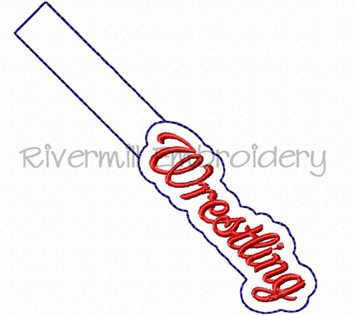 Wrestling In The Hoop Snap Tab Key Fob Machine Embroidery Design