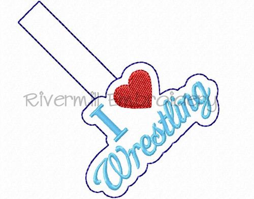 I Heart Wrestling In The Hoop Snap Tab Key Fob Machine Embroidery Design