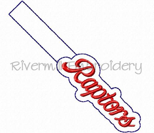 Raptors In The Hoop Snap Tab Key Fob Machine Embroidery Design