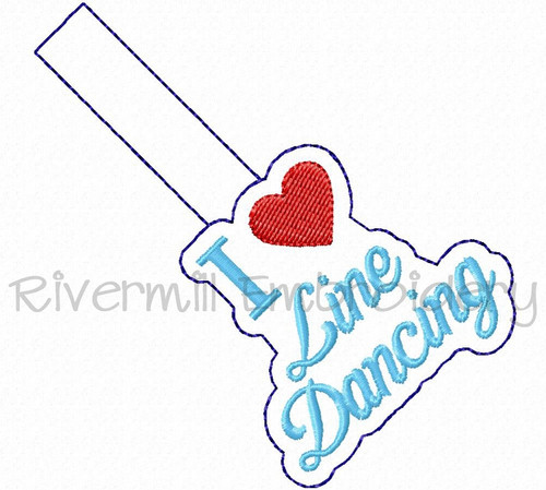 I Heart Line Dancing In The Hoop Snap Tab Key Fob Machine Embroidery Design