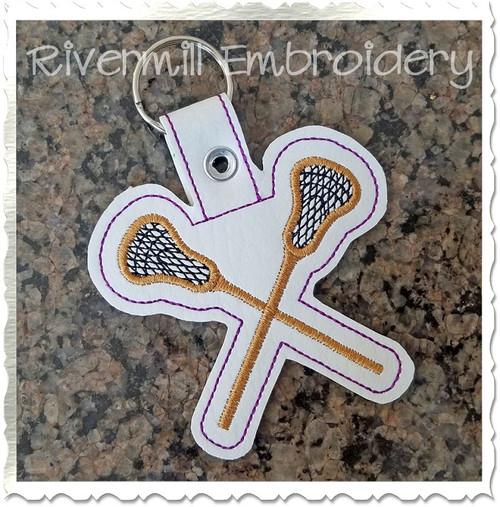 Lacrosse In The Hoop Snap Tab Key Fob Machine Embroidery Design