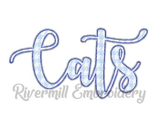Raggy Applique Script Cats Machine Embroidery Design
