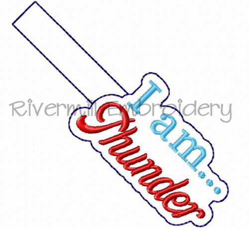 I Am Thunder In The Hoop Snap Tab Key Fob Machine Embroidery Design