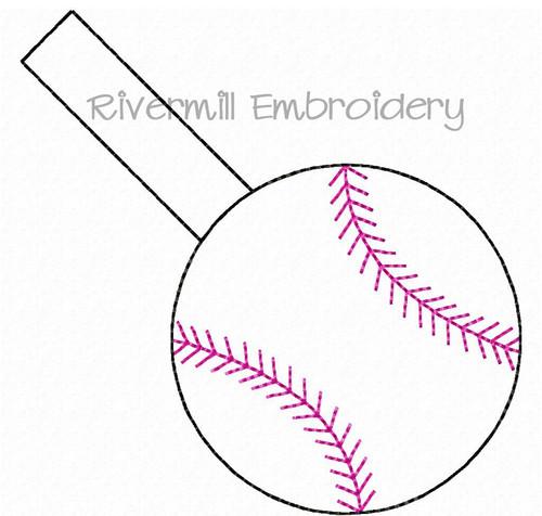 Baseball or Softball In The Hoop Snap Tab Key Fob Machine Embroidery Design (#2)